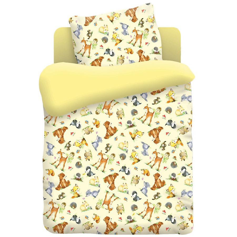 Комплект постельного белья детский бязь Непоседа Н/У Лесные обитатели желтый<br>