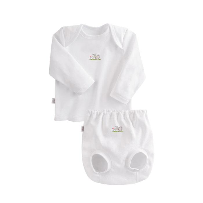 Комплект Наша Мама Be happy №3 (футболка, трусы на подгузник) рост 74 белый<br>