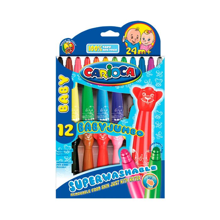 Набор фломастеров CARIOCA BABY JUMBO суперсмываемых для детей от 2 лет 12 цветов<br>