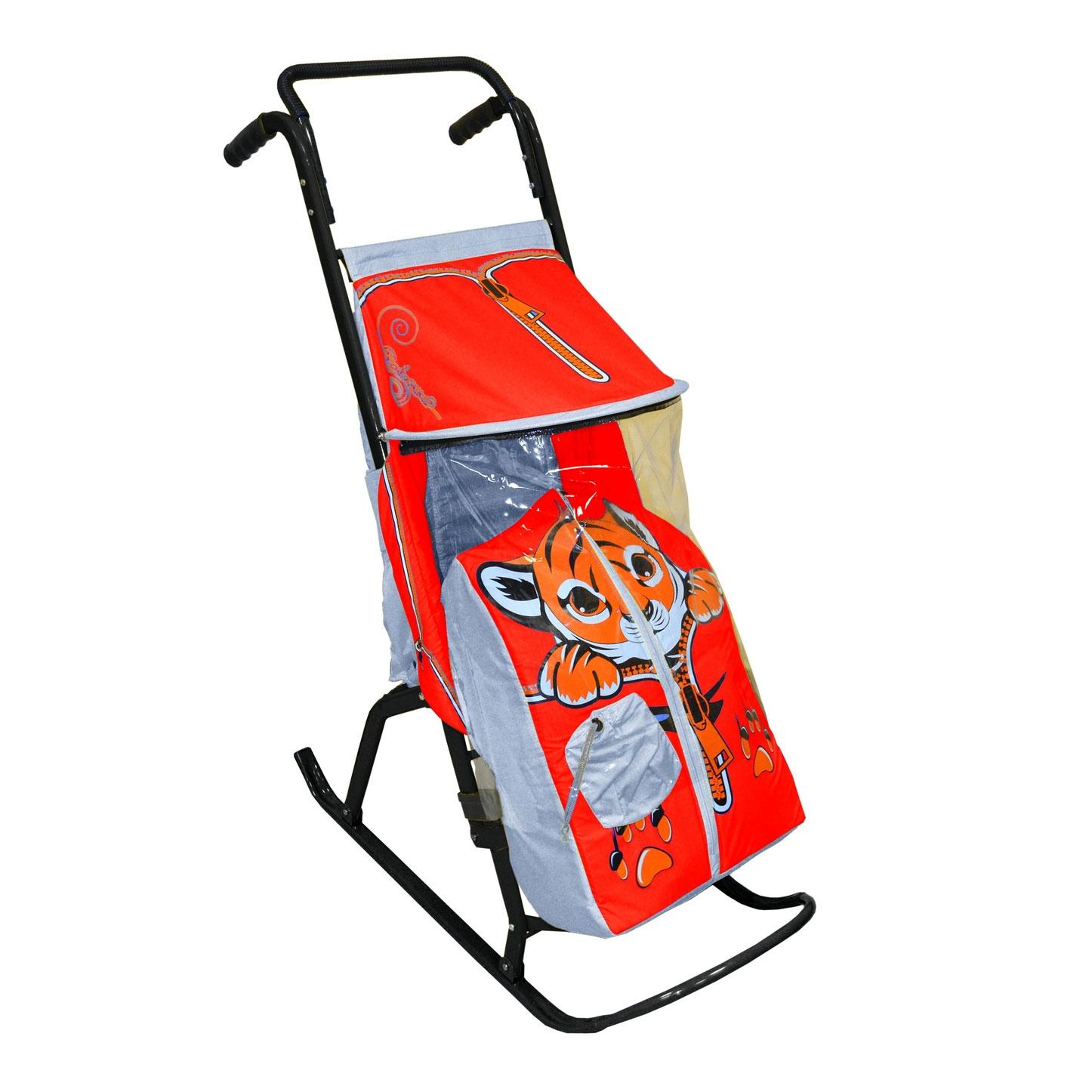 Санки-коляска Снегурочка 2-Р Тигренок Серые с красным