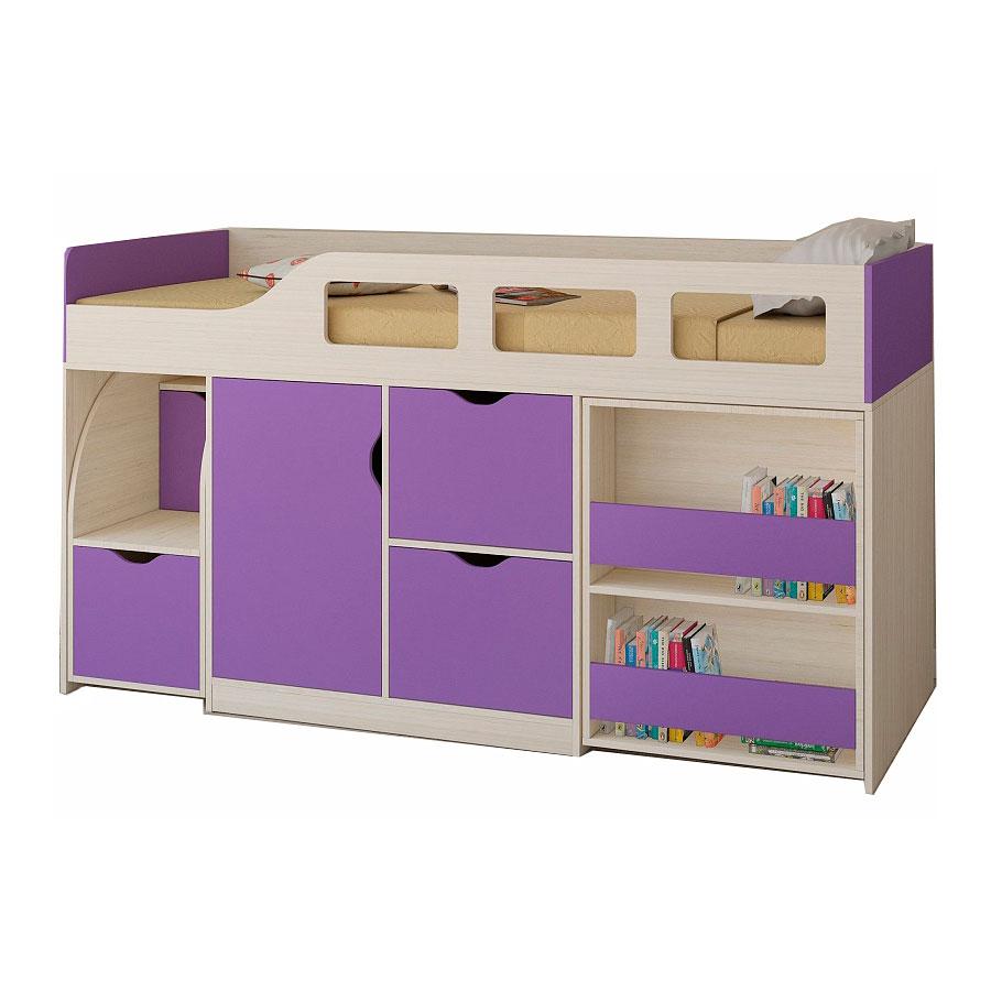 Набор мебели РВ-Мебель Астра 8 Дуб молочный/Фиолетовый<br>