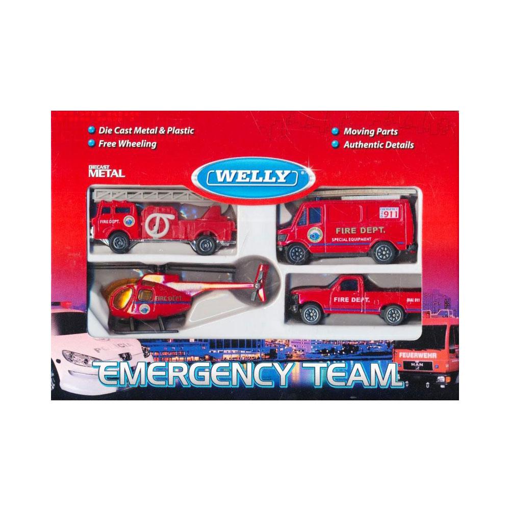 Машинка Welly Служба спасения - пожарная команда  4 шт.<br>