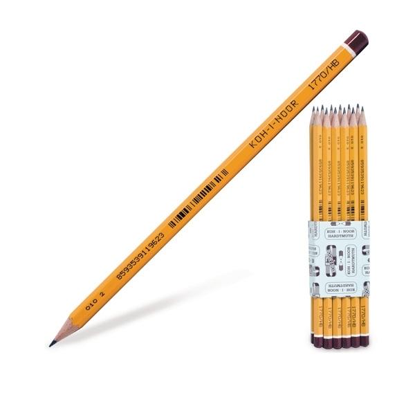 Карандаш чернографитный KOH-I-NOOR BLACK SUN Шестигранный Декоративный наконечник Цвет желтый<br>