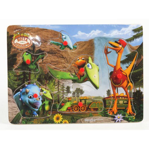 Деревянная рамка-вкладыш Играем вместе Поезд Динозавров 29х21 см<br>