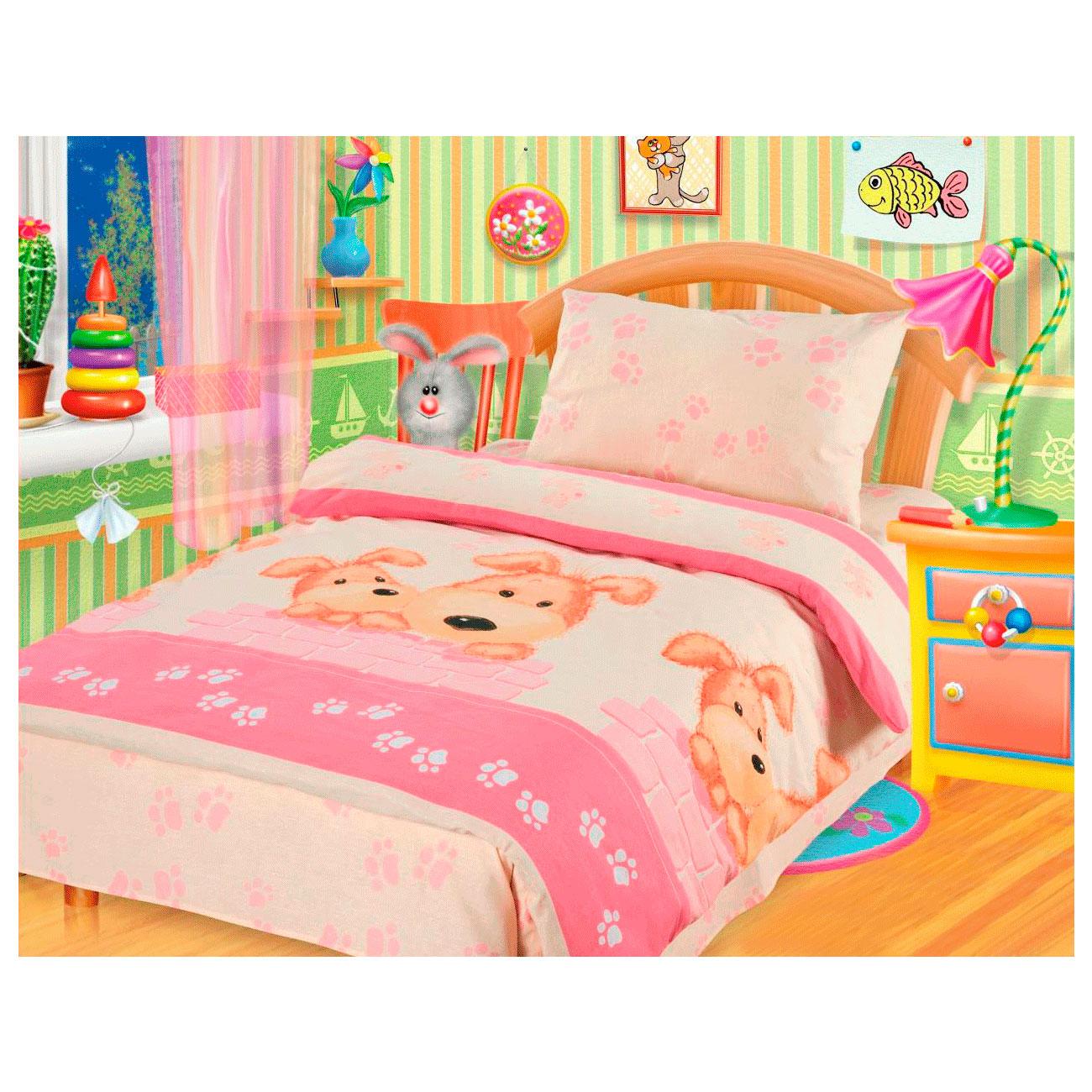 Комплект постельного белья детский бязь Непоседа КДН-1 Собачки Розовый<br>