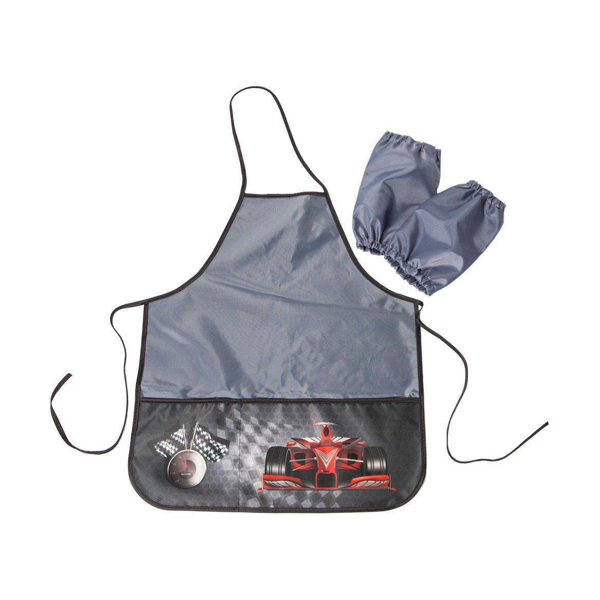Фартук Silwerhof для уроков труда Автогонки для мальчиков 6-12 лет с нарукавниками 2 кармана<br>