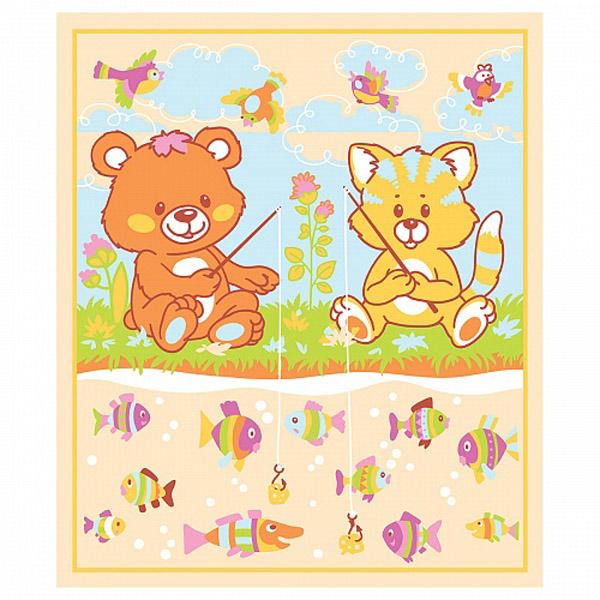 Одеяло Baby Nice байковое 100% хлопок 100х118 Рыбалка Желтый<br>