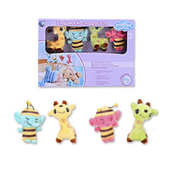Мобиль Облако заботы музыкальный с мягкими игрушками Слоник и Жираф<br>