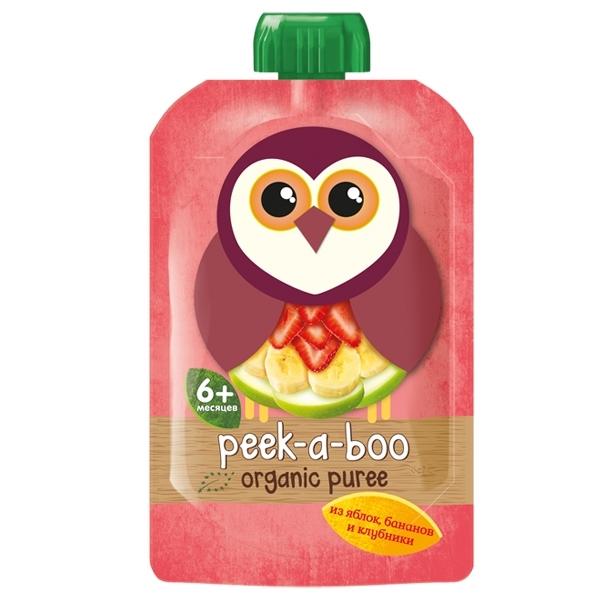 Пюре Peek-a-boo 113 гр Яблоко банан клубника (с 6 мес)