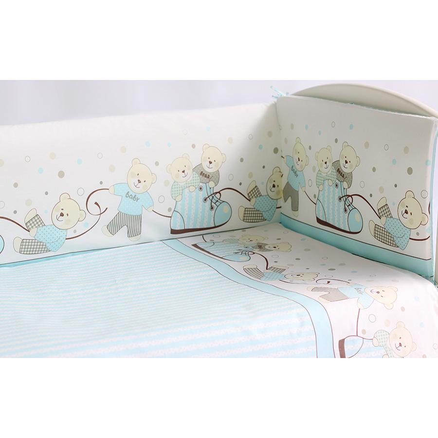 Комплект в кроватку Pituso 6 предметов Мишки Голубой<br>