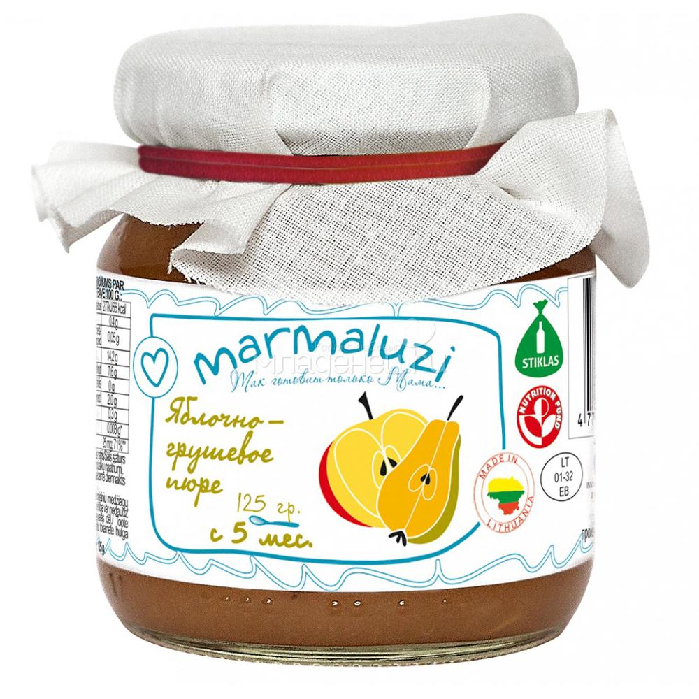 Пюре Marmaluzi фруктовое 125 гр. Яблоко груша (с 5 мес)