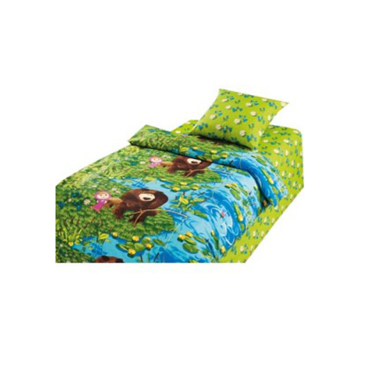 Комплект постельного белья детский 1.5 сп бязь Непоседа Маша и Медведь На рыбалке