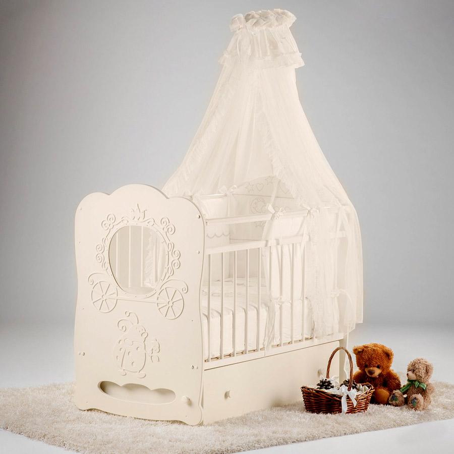 Кроватка Островок Уюта Карета маятник поперечный с ящиком Слоновая кость<br>