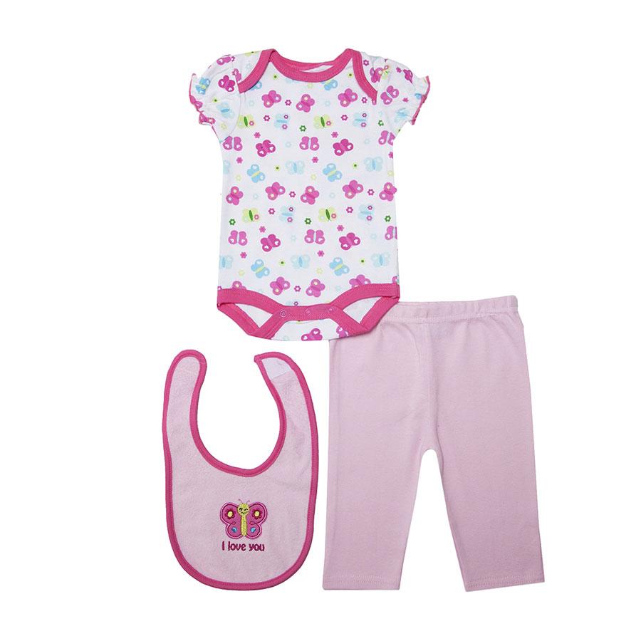 Комплект Bon Bebe Бон Бебе для девочки: боди, штанишки, нагрудник, цвет розовый 3-6 мес. (61-67 см)