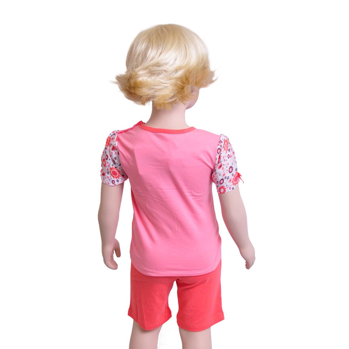 Комплект Veneya Венейя (футболка+шорты) для девочки, розовый размер 86