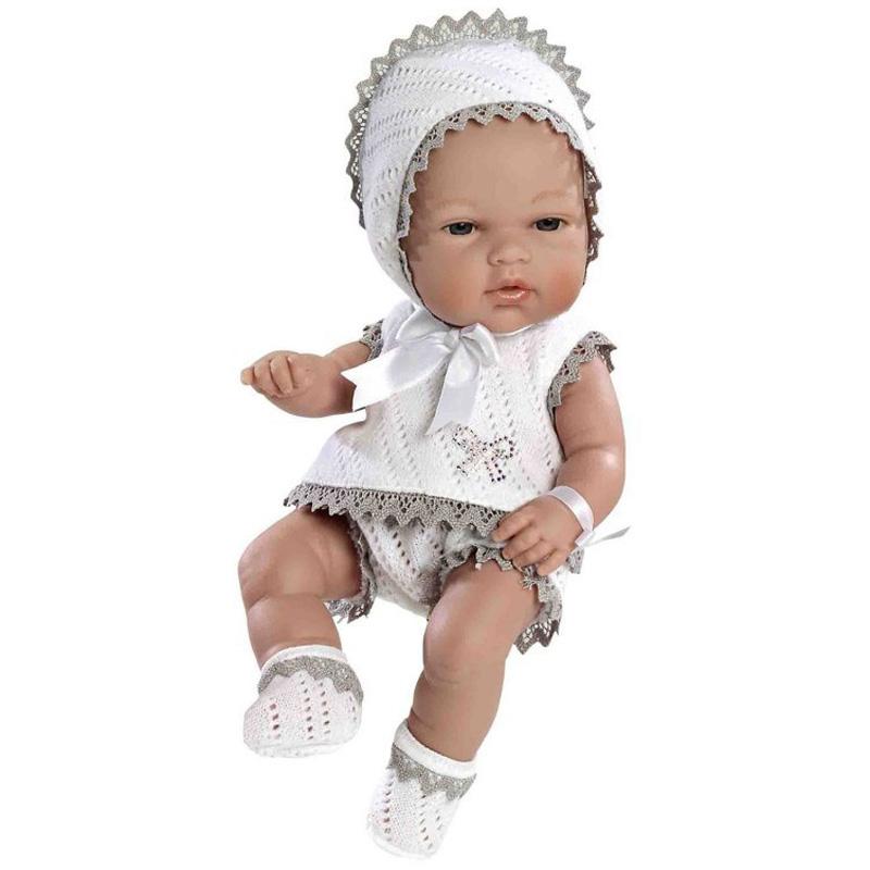 Кукла Arias 33 см Swarowski пупс в бело-бежевом костюмчике со стразами<br>