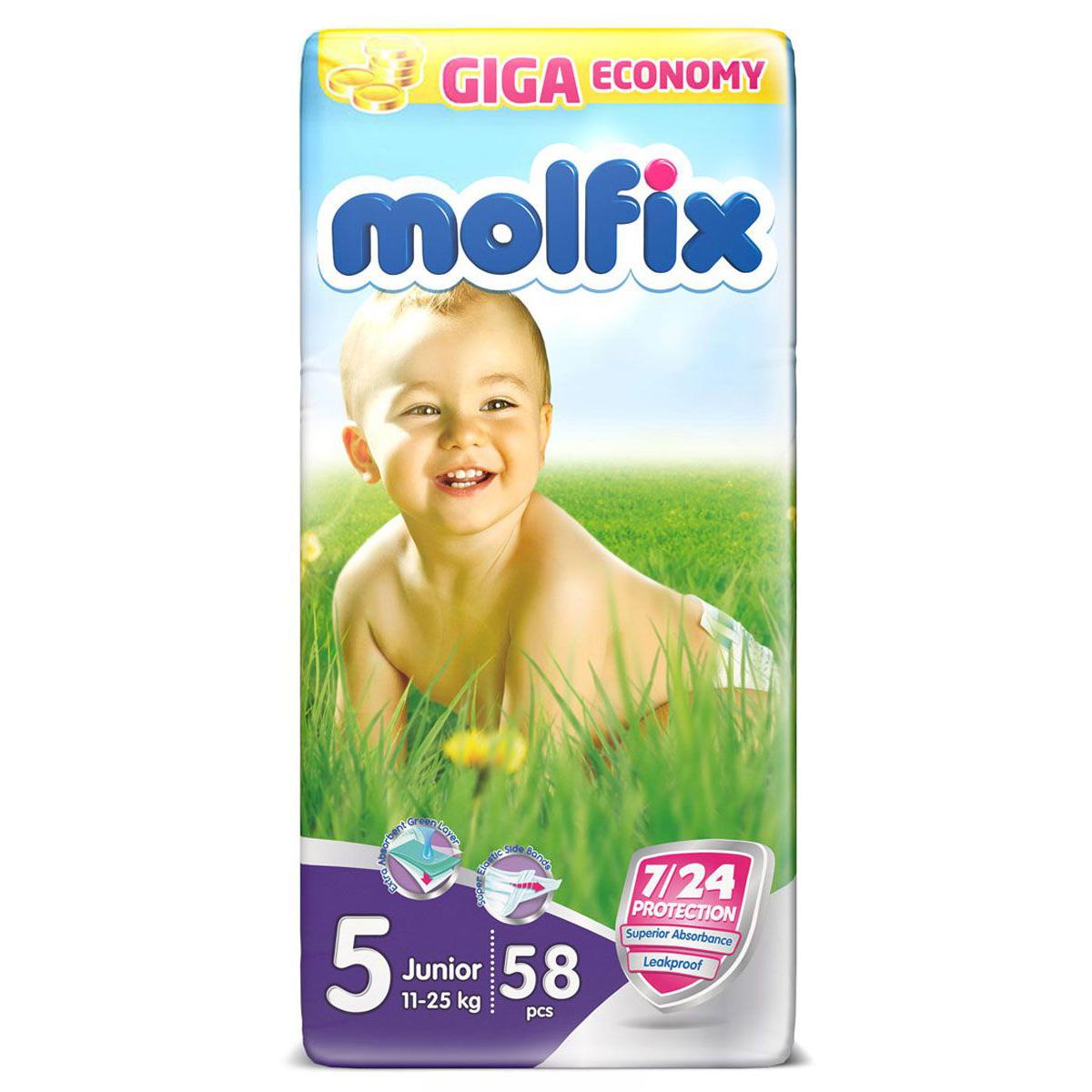 Подгузники Molfix Junior 11-25 кг. (58 шт.) Размер 5<br>