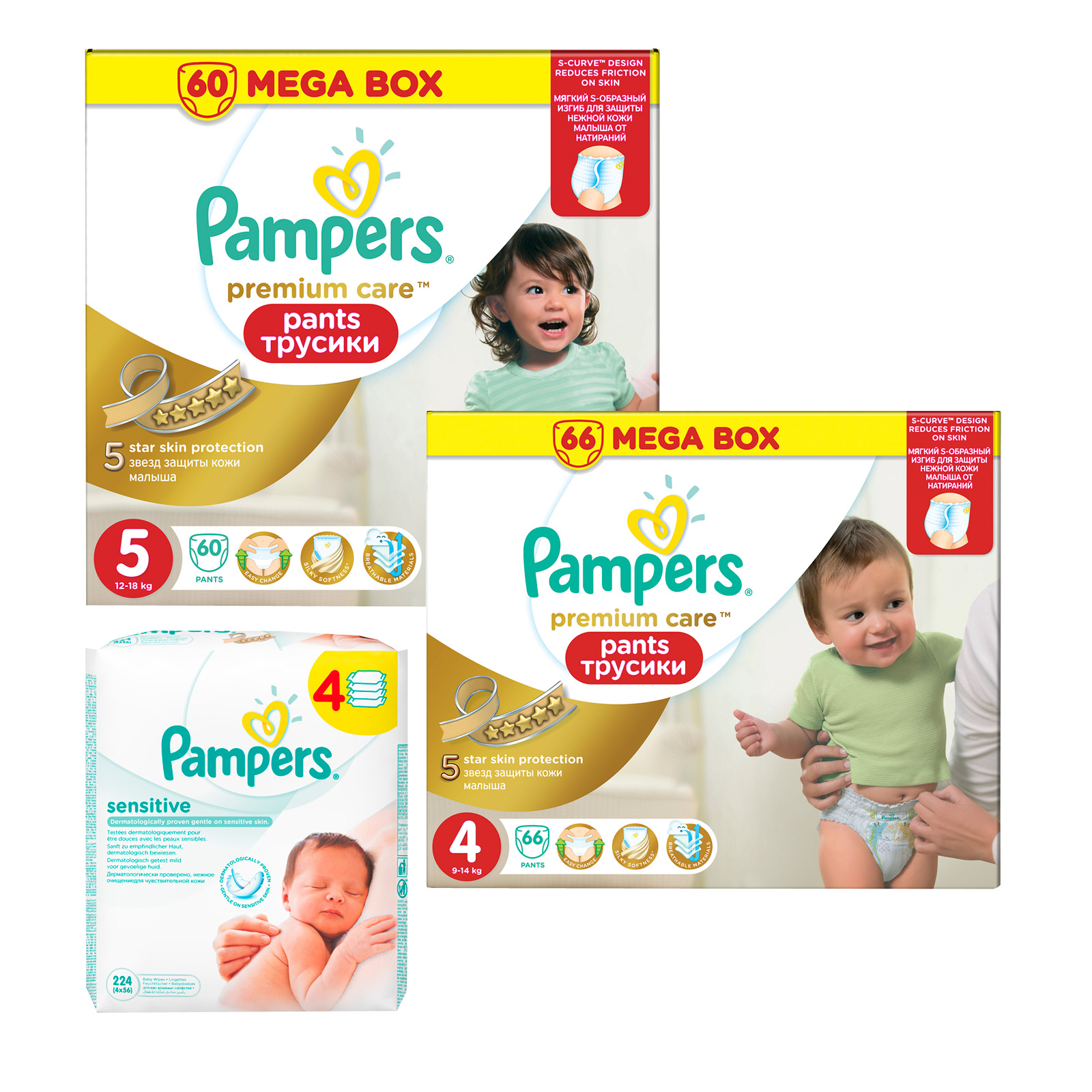 Набор Pampers №8 Трусики Pampers Premium care 4-5 + салфетки<br>