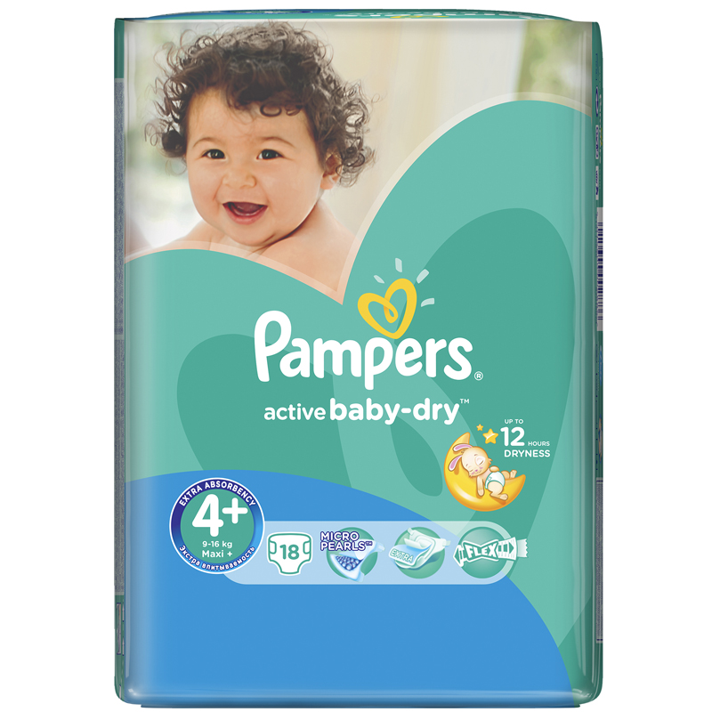 Подгузники Pampers Active Baby Maxi+ 9-16 кг (18 шт) Размер 4+<br>