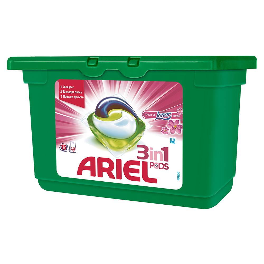 Капсулы для стирки Ariel 3 в 1 PODS Touch of Lenor Fresh 15 х 28,8 гр<br>