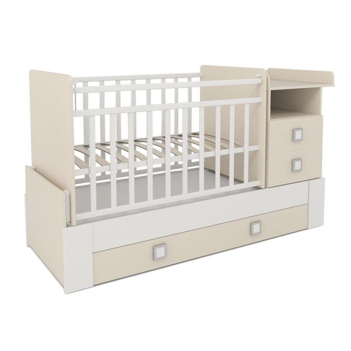 Кроватка-трансформер СКВ компани 83003 Бежевая с белым<br>