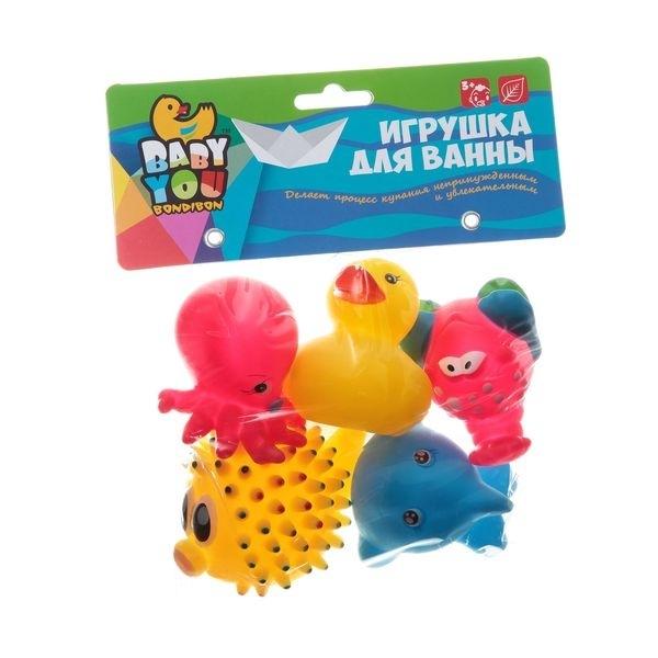 Игрушки для ванной Bondibon Морской ёж, Дельфин, Утка, Осьминог, Краб<br>