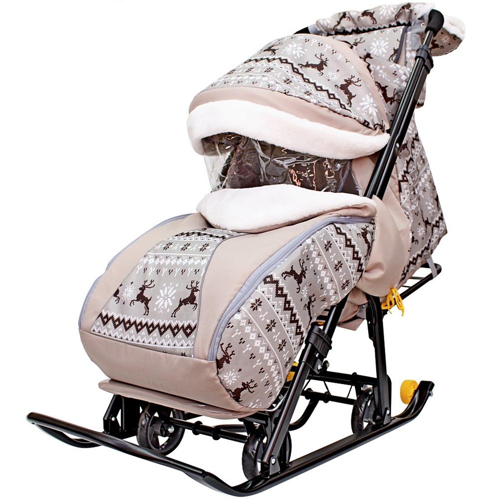 Санки-коляска SNOW GALAXY LUXE на больших мягких колесах сумка муфта Скандинавская ночь Олени Коричневые<br>
