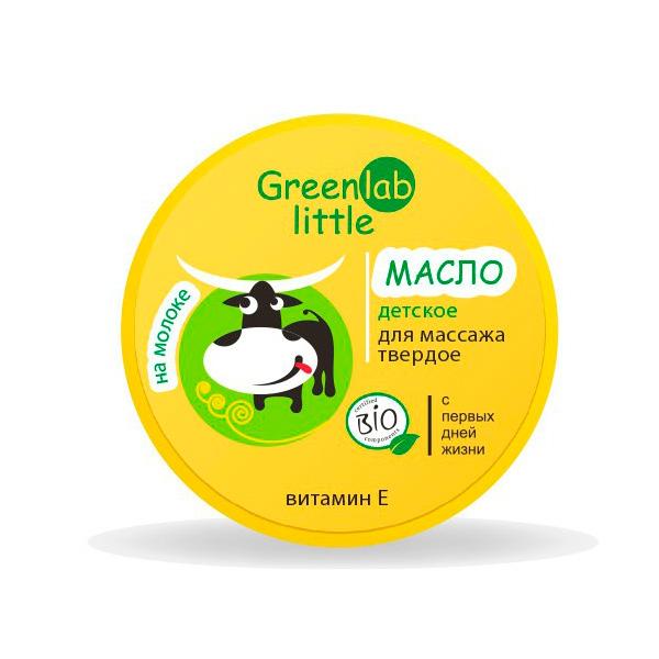 Масло твердое Greenlab Little для массажа 70 мл на молоке с ромашкой и витамином E