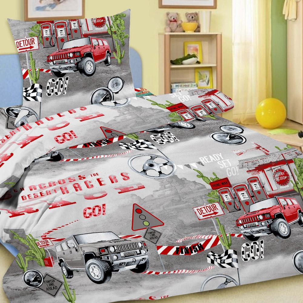Комплект постельного белья детский Letto Race Серый  с наволочкой 50х70<br>