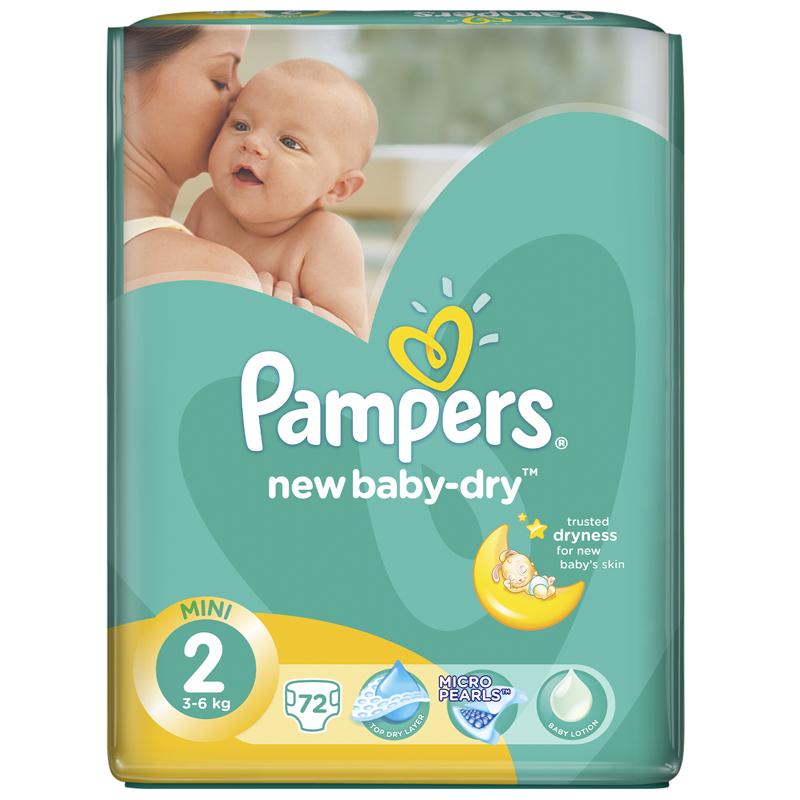 Подгузники Pampers New Baby Mini 3-6 кг (72 шт) Размер 2