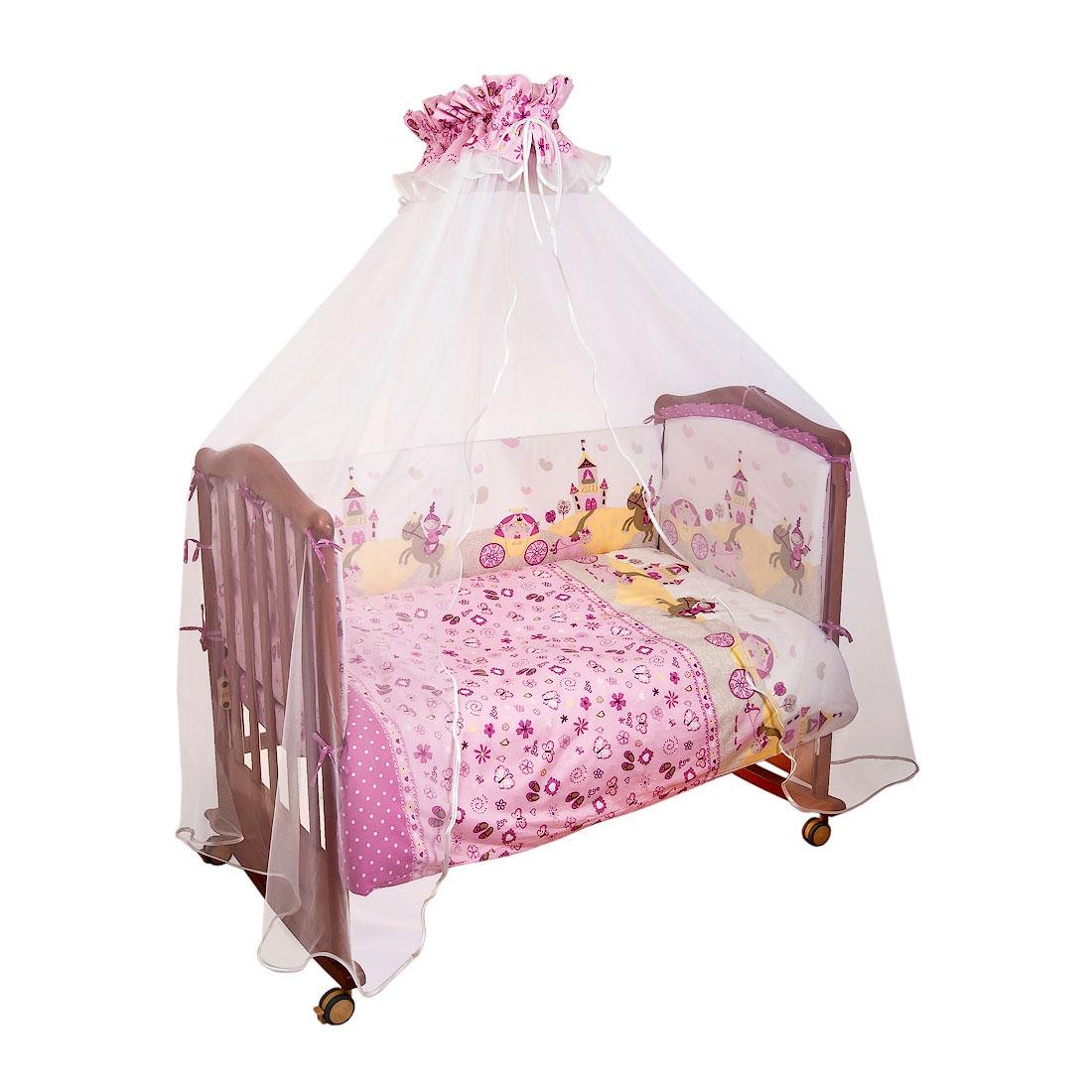 Комплект в кроватку Сонный гномик Золушка 4 предмета Розовый<br>