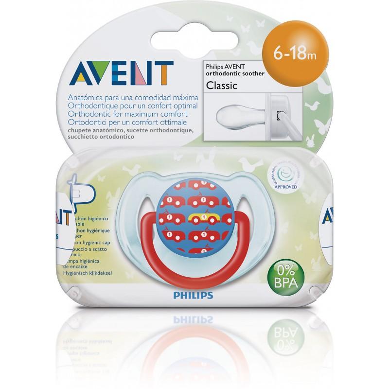 Пустышка Philips Avent Дизайн 1 шт Силикон для мальчика (с 6 до 18 мес)<br>