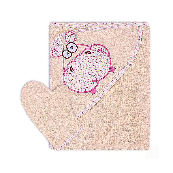 Полотенце-уголок Осьминожка Бегемот с вышивкой махровое Бежевое<br>