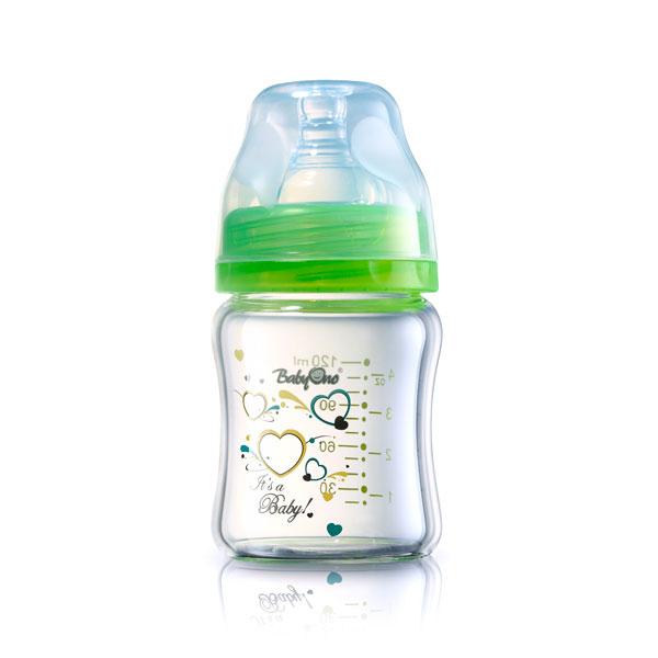 Бутылочка BabyOno c широким горлышком Стекло 120 мл (с 0 мес)<br>