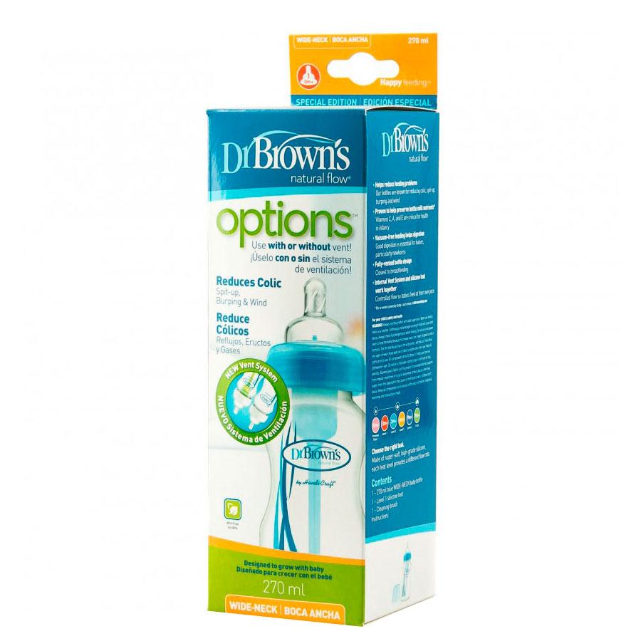 Бутылочка Dr. Brown&amp;#039;s Options с широким горлышком Синяя (270 мл)<br>