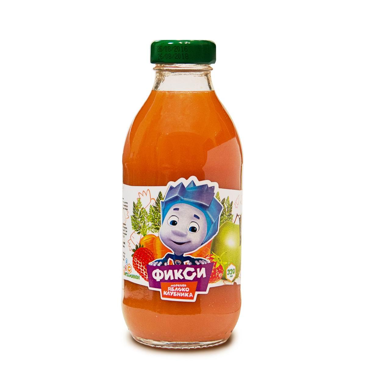 Нектар Фикси Морковь яблоко клубника с мякотью (с 3 лет)<br>