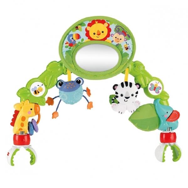Игровая панель Fisher Price С зеркальцем Друзья из тропического леса для коляски<br>