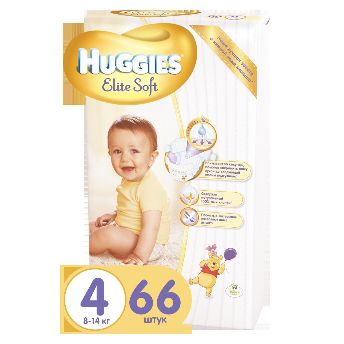 Подгузники Huggies Elite Soft Mega Pack 8-14 кг (66 шт) Размер 4<br>