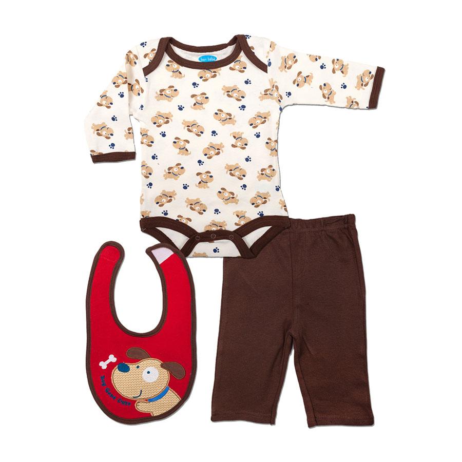 Комплект Bon Bebe Бон Бебе для мальчика: боди длинный рукав, штанишки, нагрудник, цвет коричневый 3-6 мес. (61-66 см)