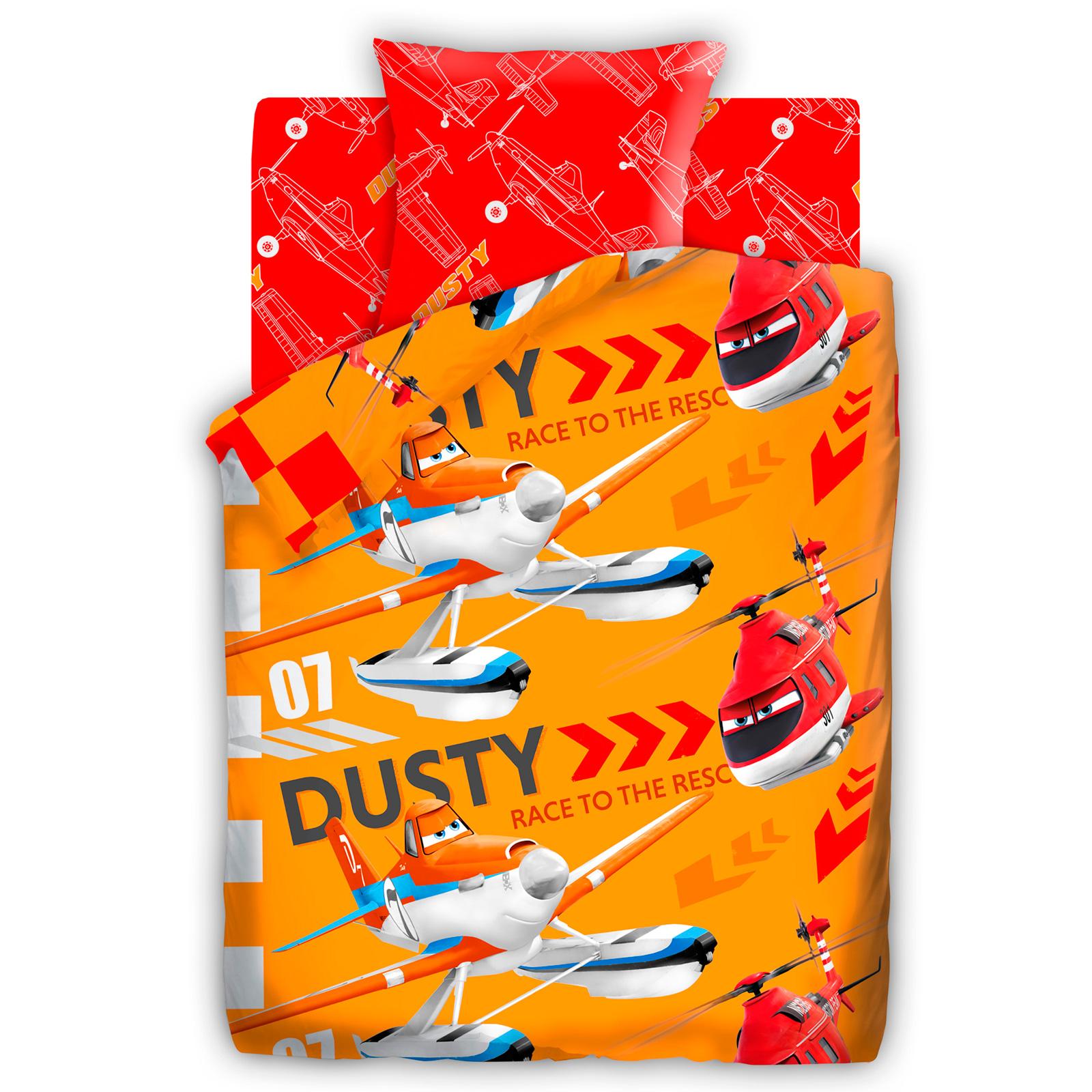 Комплект постельного белья детский 1.5 поплин Непоседа Самолеты с наволочкой 70х70 Дасти и Рейнджер<br>