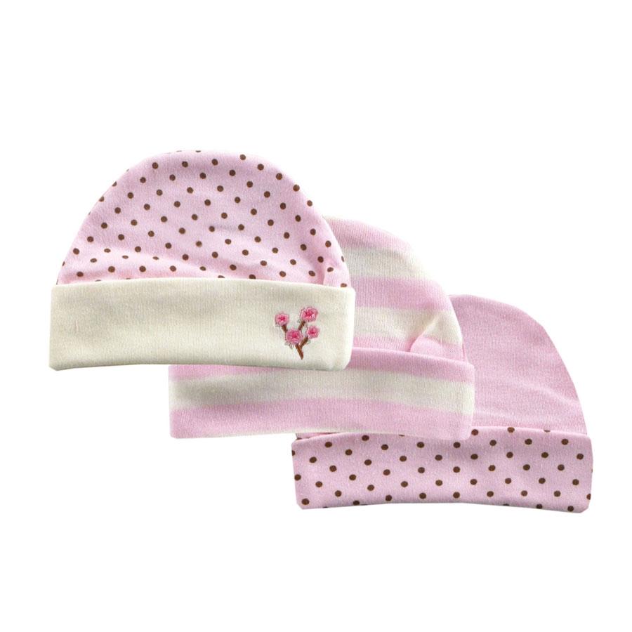 Комплект Hudson Baby Шапочки, 3 шт., цвет розовый 0-6 мес. (55-67 см)