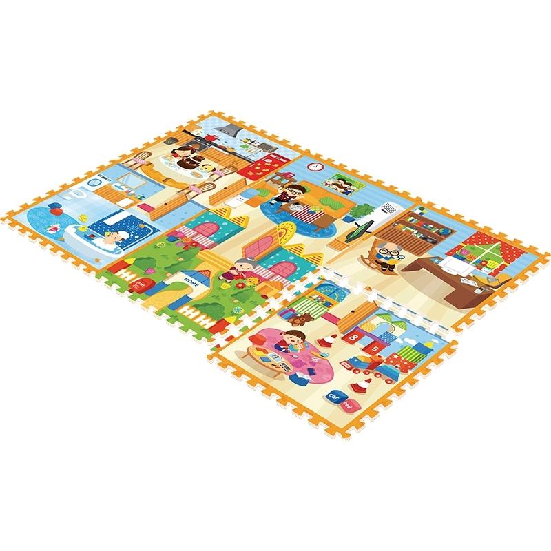 Детский развивающий коврик-пазл Mambobaby Семейный дом 180х120х2<br>