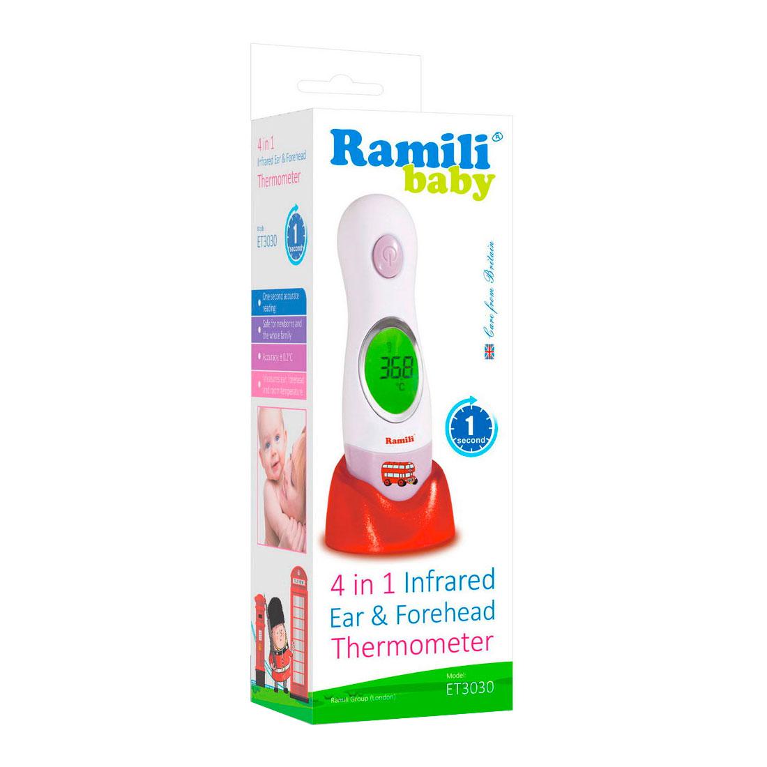 Термометр Ramili 4в1 инфракрасный ушной и лобный  ET3030<br>