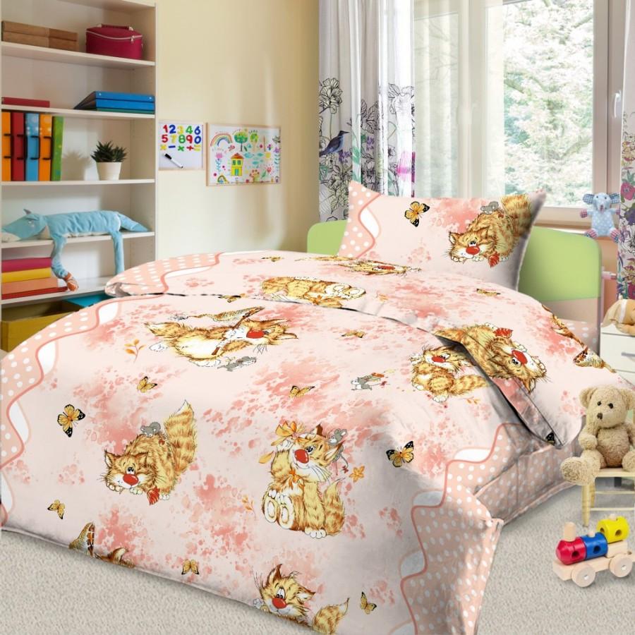 Комплект постельного белья детский Letto Кошки-мышки Розовый<br>