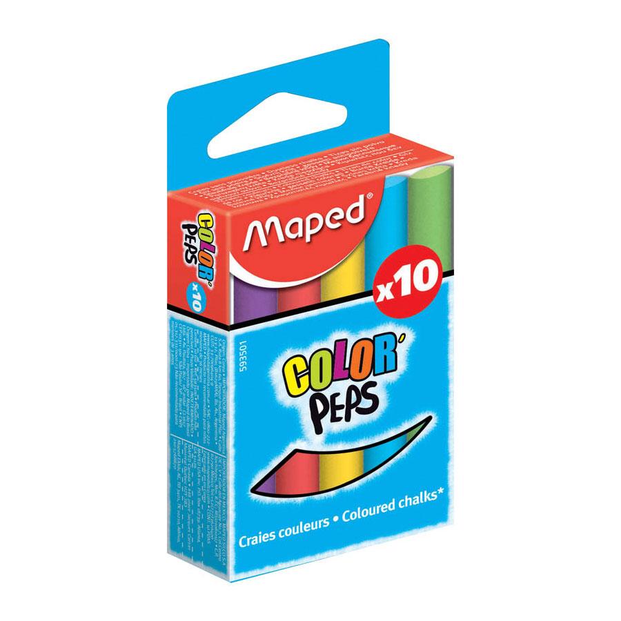 Мел MAPED COLOR PEPS круглый специальная формула без грязи 10 цветов ассорти<br>