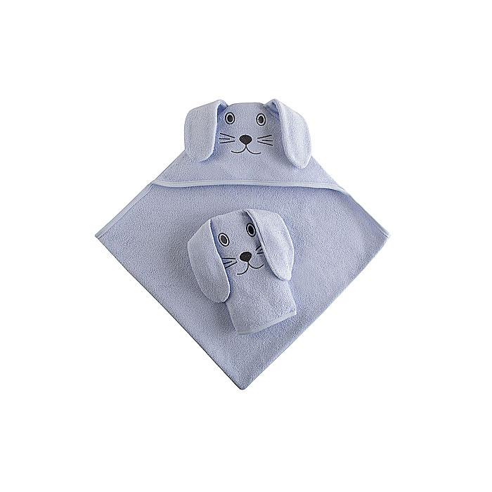 Набор Наша Мама Зайка (полотенце-уголок и рукавичка) голубая махра<br>