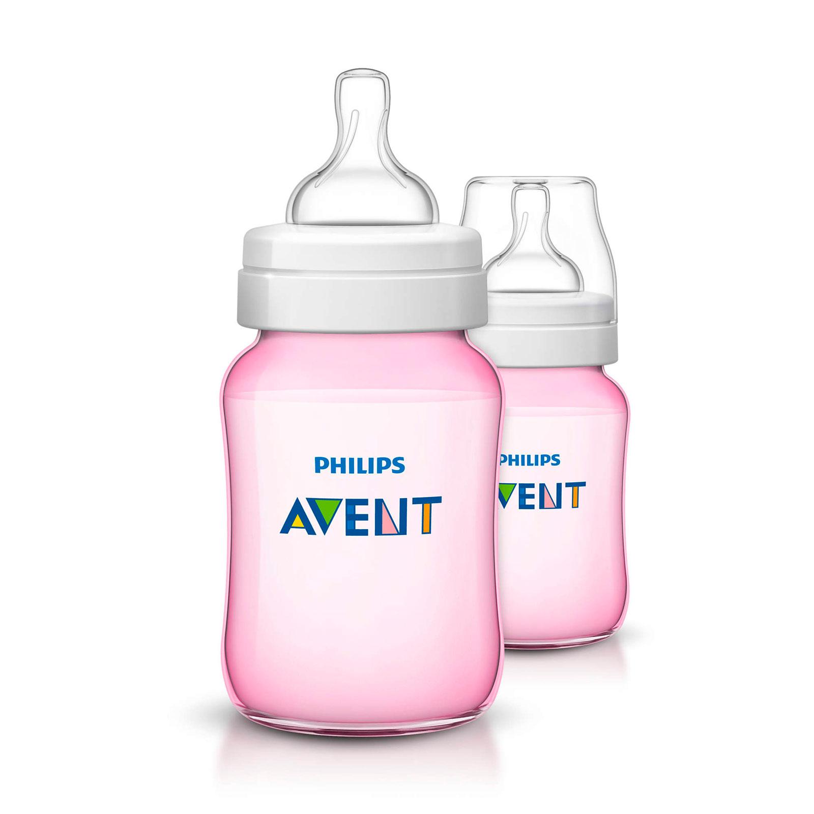 Бутылочка Philips Avent  Classic 2 шт 260 мл розовая (с 1 мес)<br>