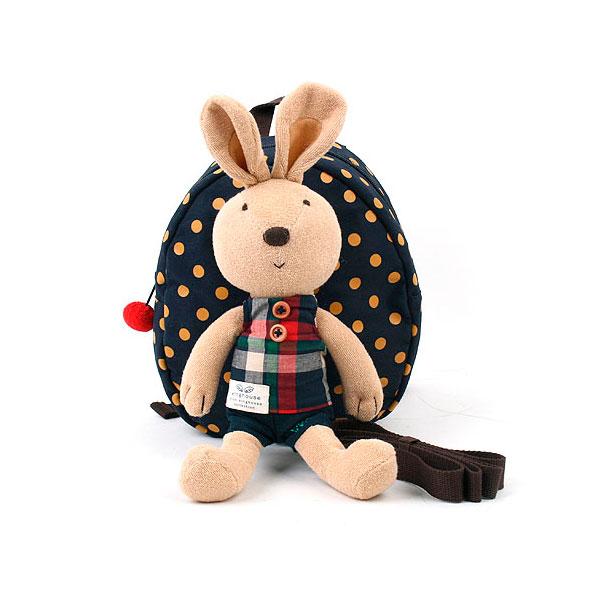 Рюкзак детский Winghouse с игрушкой и поводком 19х22х9см Кролик Синий<br>