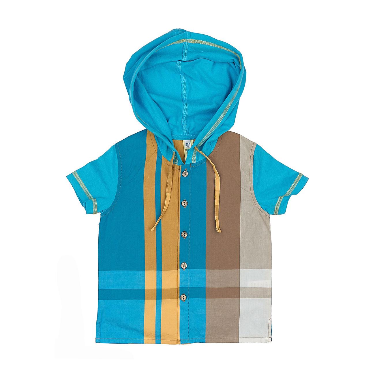 Рубашка с капюшоном Венейя (4020) рост 86 голубой<br>