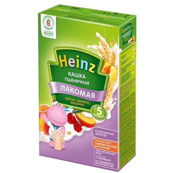 Каша Heinz Лакомая кашка молочная 200 гр Пшеничная с абрикосом персиком и вишней (с 5 мес)<br>